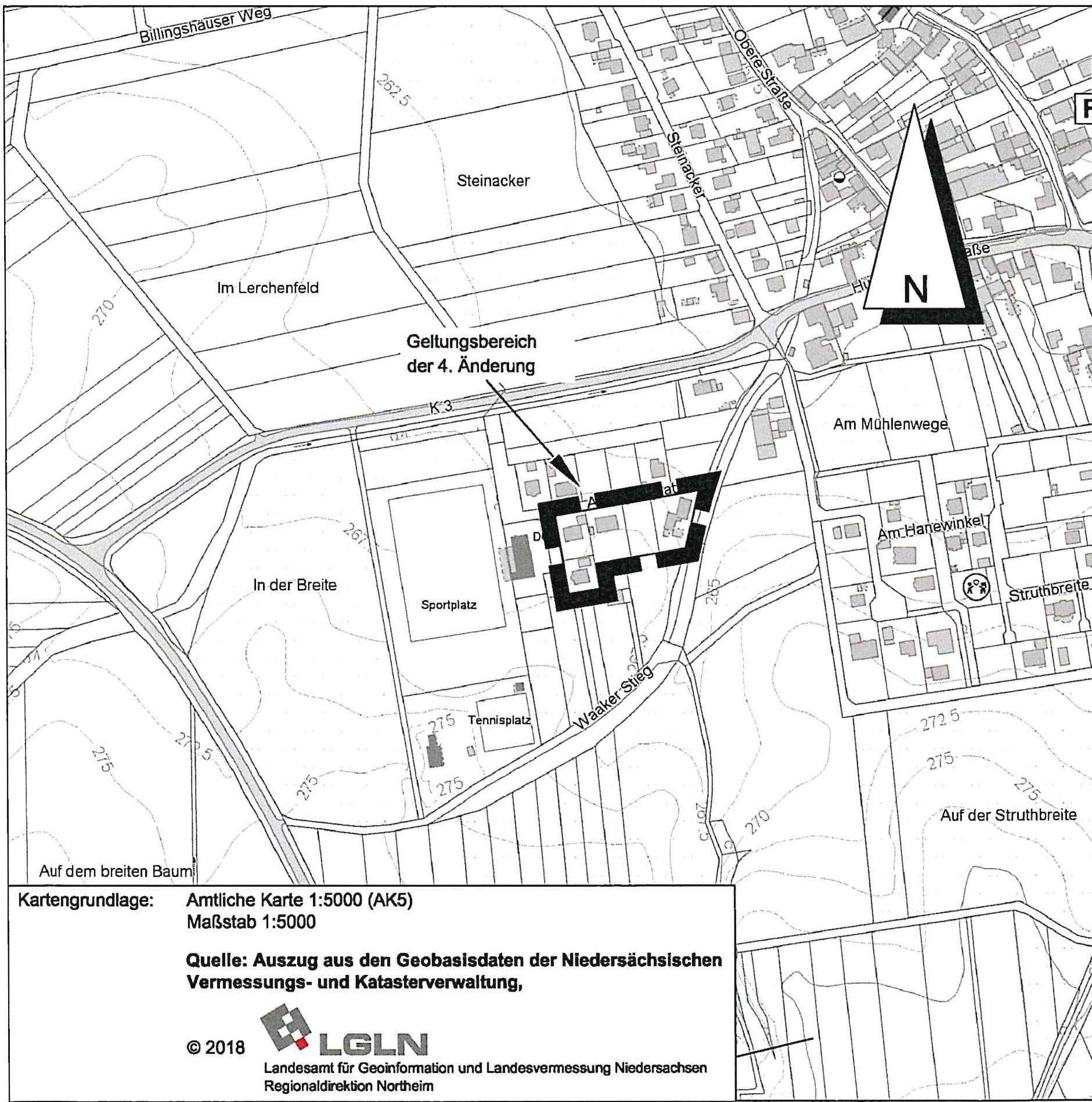 """Änderungsbereich südlich der Strasse """"Am Sportplatz"""""""